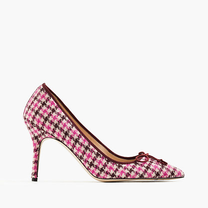 Elsie Tweed Pumps - predominant colour: hot pink; occasions: evening; material: leather; heel height: high; heel: stiletto; toe: pointed toe; style: courts; finish: plain; pattern: checked/gingham; multicoloured: multicoloured; season: a/w 2016; wardrobe: event