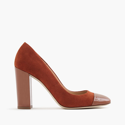 Lena Suede Pumps With Patent Cap Toe - predominant colour: terracotta; occasions: evening, creative work; material: suede; heel: block; toe: pointed toe; style: courts; finish: plain; pattern: plain; heel height: very high; season: a/w 2016; wardrobe: highlight