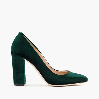Lena Pumps In Velvet - predominant colour: dark green; occasions: evening, occasion, creative work; material: velvet; heel: block; toe: pointed toe; style: courts; finish: plain; pattern: plain; heel height: very high; season: a/w 2016; wardrobe: highlight