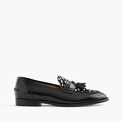 Biella Loafers In Leather And Calf Hair - secondary colour: ivory/cream; predominant colour: black; occasions: work, creative work; material: leather; heel height: flat; embellishment: tassels; toe: round toe; style: loafers; finish: patent; pattern: animal print; season: a/w 2016; wardrobe: highlight