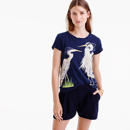 Blue Heron Art T Shirt - neckline: round neck; style: t-shirt; secondary colour: ivory/cream; predominant colour: navy; occasions: casual; length: standard; fibres: cotton - 100%; fit: body skimming; sleeve length: short sleeve; sleeve style: standard; pattern type: fabric; pattern: patterned/print; texture group: jersey - stretchy/drapey; multicoloured: multicoloured; season: a/w 2016; wardrobe: highlight