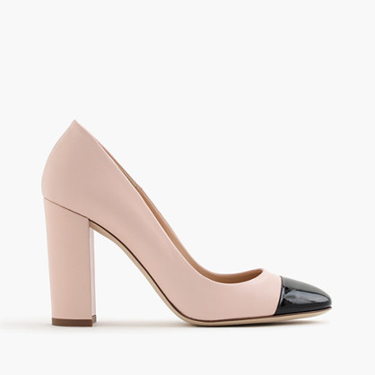Lena Leather Pumps With Patent Cap Toe - predominant colour: nude; occasions: work, creative work; material: leather; heel: block; toe: round toe; style: courts; finish: plain; pattern: colourblock; heel height: very high; season: a/w 2016; wardrobe: highlight