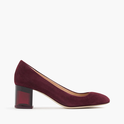Lucite Heels In Suede - predominant colour: burgundy; occasions: evening; material: suede; heel height: high; heel: block; toe: pointed toe; style: courts; finish: plain; pattern: plain; season: a/w 2016; wardrobe: event