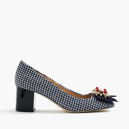 Collection Jeweled Heels In Houndstooth - secondary colour: white; predominant colour: black; occasions: evening; material: leather; heel height: mid; heel: block; toe: pointed toe; style: courts; finish: plain; pattern: checked/gingham; embellishment: bow; multicoloured: multicoloured; season: a/w 2016