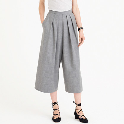 Drapey Culotte In Wool Flannel - pattern: plain; waist: mid/regular rise; predominant colour: mid grey; occasions: casual, creative work; length: calf length; fibres: wool - stretch; fit: wide leg; pattern type: fabric; texture group: woven light midweight; style: standard; season: a/w 2016
