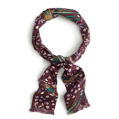 Drake's® For Long Silk Scarf - secondary colour: ivory/cream; predominant colour: burgundy; occasions: casual; type of pattern: heavy; style: skinny; size: standard; material: silk; pattern: patterned/print; multicoloured: multicoloured; season: a/w 2016; wardrobe: highlight