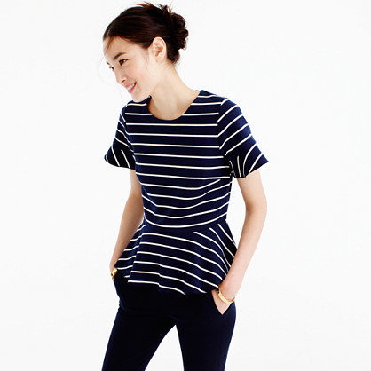Structured Peplum Top In Stripe - pattern: horizontal stripes; waist detail: peplum waist detail; secondary colour: white; predominant colour: navy; occasions: casual; length: standard; style: top; fibres: cotton - stretch; fit: body skimming; neckline: crew; sleeve length: short sleeve; sleeve style: standard; pattern type: fabric; texture group: jersey - stretchy/drapey; multicoloured: multicoloured; wardrobe: basic; season: a/w 2016