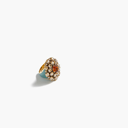 Crystal Burst Ring - predominant colour: turquoise; secondary colour: gold; occasions: evening; style: cocktail; size: standard; material: chain/metal; finish: metallic; embellishment: crystals/glass; multicoloured: multicoloured; season: a/w 2016; wardrobe: event