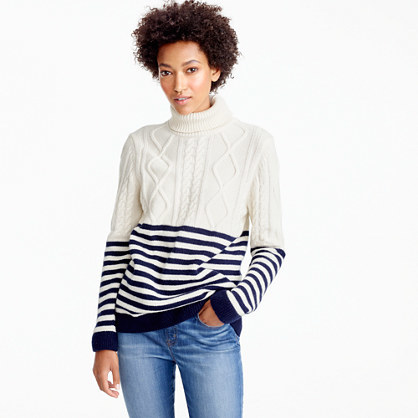 Saint James® Amos Nautical Turtleneck Sweater - neckline: roll neck; style: standard; pattern: cable knit; predominant colour: white; secondary colour: navy; occasions: casual; length: standard; fibres: wool - 100%; fit: loose; sleeve length: long sleeve; sleeve style: standard; texture group: knits/crochet; pattern type: fabric; multicoloured: multicoloured; season: a/w 2016; wardrobe: highlight