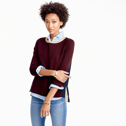 Colorblock Crewneck Sweater With Side Snaps - pattern: plain; style: standard; predominant colour: burgundy; occasions: casual; length: standard; fibres: cotton - 100%; fit: slim fit; neckline: crew; sleeve length: 3/4 length; sleeve style: standard; texture group: knits/crochet; pattern type: fabric; season: a/w 2016; wardrobe: highlight
