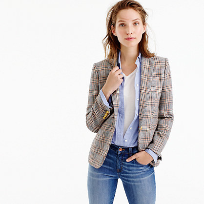 Campbell Blazer In Glen Plaid - pattern: checked/gingham; style: single breasted blazer; collar: standard lapel/rever collar; predominant colour: taupe; occasions: casual, work, creative work; length: standard; fit: tailored/fitted; fibres: wool - mix; sleeve length: long sleeve; sleeve style: standard; collar break: medium; pattern type: fabric; pattern size: standard; texture group: woven light midweight; multicoloured: multicoloured; season: a/w 2016; wardrobe: highlight