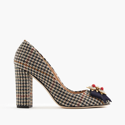 Collection Lena Jeweled Tweed Pumps - predominant colour: black; occasions: evening; material: leather; heel height: high; heel: block; toe: pointed toe; style: courts; finish: plain; pattern: dogtooth; multicoloured: multicoloured; season: a/w 2016