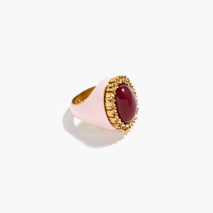 Enamel Ring - predominant colour: ivory/cream; secondary colour: burgundy; occasions: evening; style: cocktail; size: large/oversized; material: chain/metal; finish: plain; embellishment: jewels/stone; multicoloured: multicoloured; season: a/w 2016; wardrobe: event