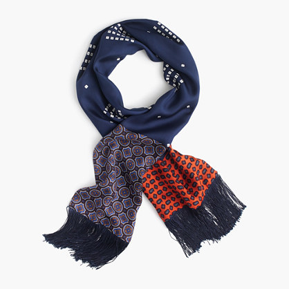 Lightweight Silk Scarf In Printed Navy Patchwork - secondary colour: true red; predominant colour: navy; occasions: casual; type of pattern: heavy; style: regular; size: standard; material: silk; pattern: patterned/print; multicoloured: multicoloured; season: a/w 2016; wardrobe: highlight