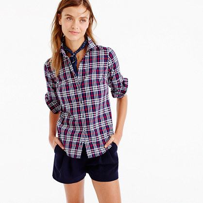 Perfect Shirt In Plaid - neckline: shirt collar/peter pan/zip with opening; pattern: checked/gingham; style: shirt; secondary colour: white; predominant colour: hot pink; occasions: casual; length: standard; fibres: cotton - 100%; fit: body skimming; sleeve length: long sleeve; sleeve style: standard; texture group: cotton feel fabrics; pattern type: fabric; multicoloured: multicoloured; season: a/w 2016