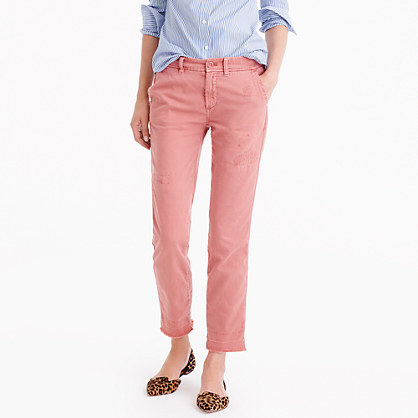 Distressed Boyfriend Chino - pattern: plain; waist: low rise; occasions: casual; length: ankle length; style: chino; fibres: cotton - 100%; texture group: cotton feel fabrics; fit: slim leg; pattern type: fabric; predominant colour: dusky pink; season: a/w 2016; wardrobe: highlight