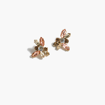 Crystal Stud Earrings - secondary colour: pale blue; predominant colour: gold; occasions: evening; style: stud; length: short; size: large/oversized; material: chain/metal; fastening: pierced; finish: plain; embellishment: crystals/glass; multicoloured: multicoloured; season: a/w 2016; wardrobe: event