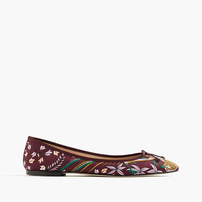 Collection Drake's For Gemma Flats - predominant colour: burgundy; secondary colour: lilac; occasions: casual; material: leather; heel height: flat; embellishment: embroidered; toe: round toe; style: ballerinas / pumps; finish: plain; pattern: florals; multicoloured: multicoloured; season: a/w 2016