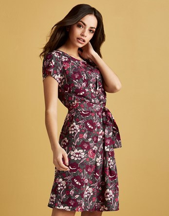 Floral Printed Mini Dress - neckline: round neck; waist detail: belted waist/tie at waist/drawstring; secondary colour: burgundy; predominant colour: charcoal; length: on the knee; fit: fitted at waist & bust; style: fit & flare; fibres: polyester/polyamide - 100%; hip detail: soft pleats at hip/draping at hip/flared at hip; sleeve length: short sleeve; sleeve style: standard; bust detail: tiers/frills/bulky drapes/pleats; pattern type: fabric; pattern size: standard; pattern: florals; texture group: woven light midweight; occasions: creative work; multicoloured: multicoloured; season: a/w 2016