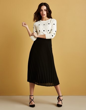 Pleated Midi Skirt - length: calf length; pattern: plain; fit: body skimming; style: pleated; waist: mid/regular rise; predominant colour: black; occasions: casual; fibres: polyester/polyamide - 100%; texture group: sheer fabrics/chiffon/organza etc.; pattern type: fabric; wardrobe: basic; season: a/w 2016