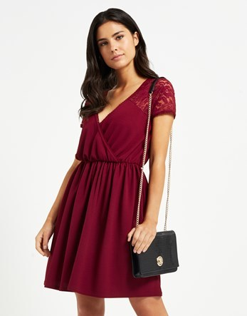 Lace Sleeve Wrap Dress - style: faux wrap/wrap; neckline: low v-neck; sleeve style: capped; fit: fitted at waist; pattern: plain; predominant colour: burgundy; occasions: evening, occasion; length: just above the knee; fibres: polyester/polyamide - 100%; hip detail: subtle/flattering hip detail; sleeve length: short sleeve; texture group: crepes; pattern type: fabric; embellishment: lace; season: a/w 2016; wardrobe: event