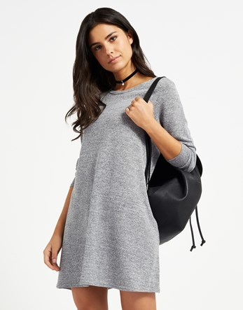 Knitted Swing Dress - style: shift; length: mid thigh; neckline: round neck; fit: loose; pattern: plain; predominant colour: light grey; occasions: casual, creative work; fibres: polyester/polyamide - stretch; sleeve length: long sleeve; sleeve style: standard; texture group: knits/crochet; pattern type: knitted - fine stitch; pattern size: standard; wardrobe: basic; season: a/w 2016