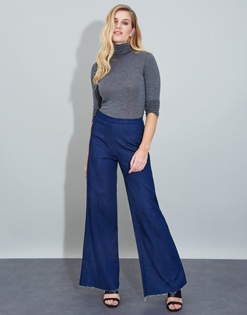 Wide Leg Jeans - length: standard; pattern: plain; waist: mid/regular rise; style: wide leg; predominant colour: navy; occasions: casual; fibres: cotton - stretch; texture group: denim; pattern type: fabric; season: a/w 2016