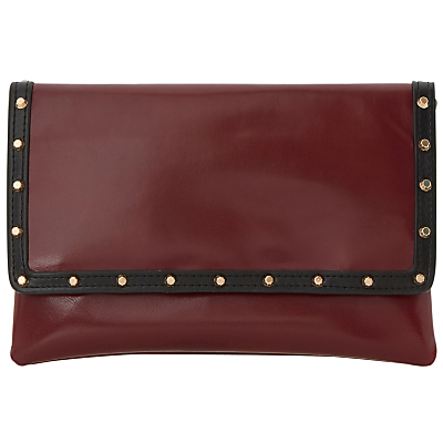 Bairo Studded Envelope Clutch Bag - predominant colour: burgundy; type of pattern: standard; style: clutch; length: hand carry; size: standard; material: faux leather; embellishment: studs; pattern: plain; finish: plain; occasions: creative work; season: s/s 2016; wardrobe: highlight