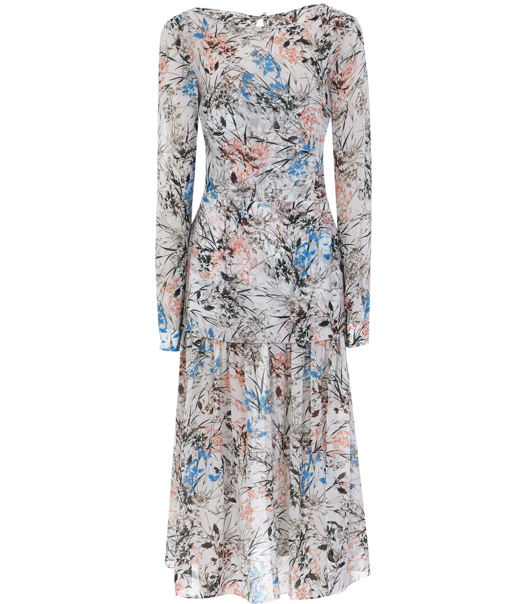 Nyla Womens Printed Midi Dress In Blue - style: tea dress; length: below the knee; neckline: slash/boat neckline; predominant colour: ivory/cream; secondary colour: diva blue; fit: soft a-line; fibres: silk - 100%; hip detail: soft pleats at hip/draping at hip/flared at hip; sleeve length: long sleeve; sleeve style: standard; texture group: sheer fabrics/chiffon/organza etc.; pattern type: fabric; pattern size: big & busy; pattern: florals; occasions: creative work; multicoloured: multicoloured; season: a/w 2016