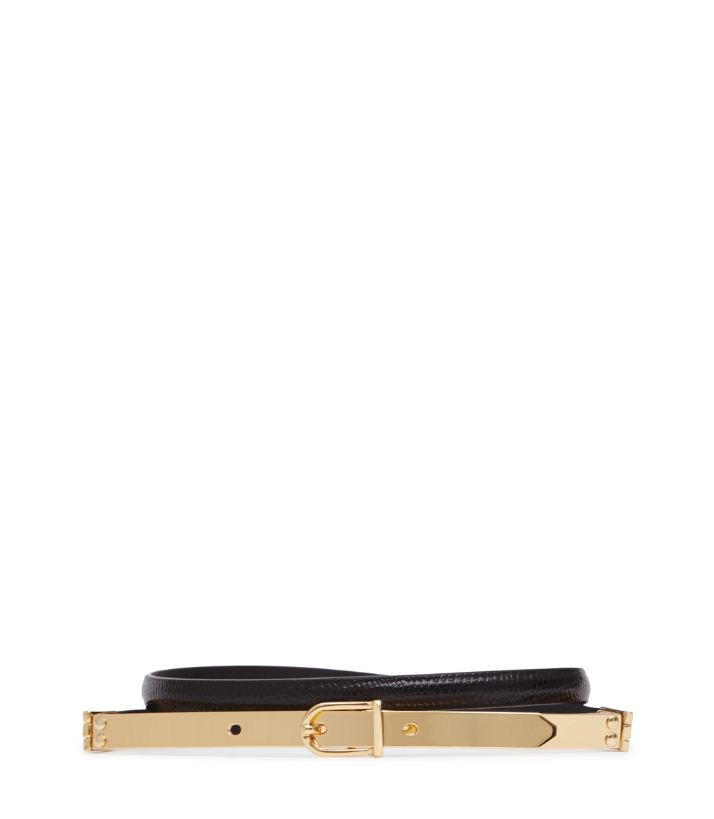 Jasper Womens Slim Metal Detail Belt In Black - predominant colour: black; occasions: casual, creative work; type of pattern: standard; style: classic; size: skinny; worn on: hips; material: leather; pattern: plain; finish: metallic; embellishment: chain/metal; season: a/w 2016