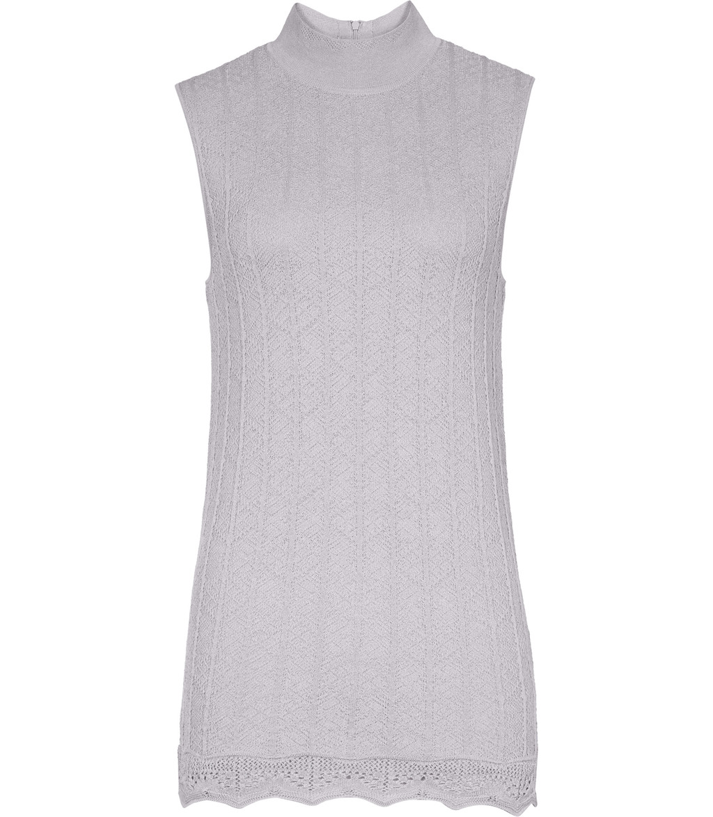Anni Womens Knitted Tank Top In Grey - pattern: plain; sleeve style: sleeveless; neckline: high neck; length: below the bottom; predominant colour: light grey; occasions: casual; style: top; fibres: wool - mix; fit: body skimming; sleeve length: sleeveless; pattern type: fabric; texture group: jersey - stretchy/drapey; embellishment: lace; season: a/w 2016; wardrobe: highlight