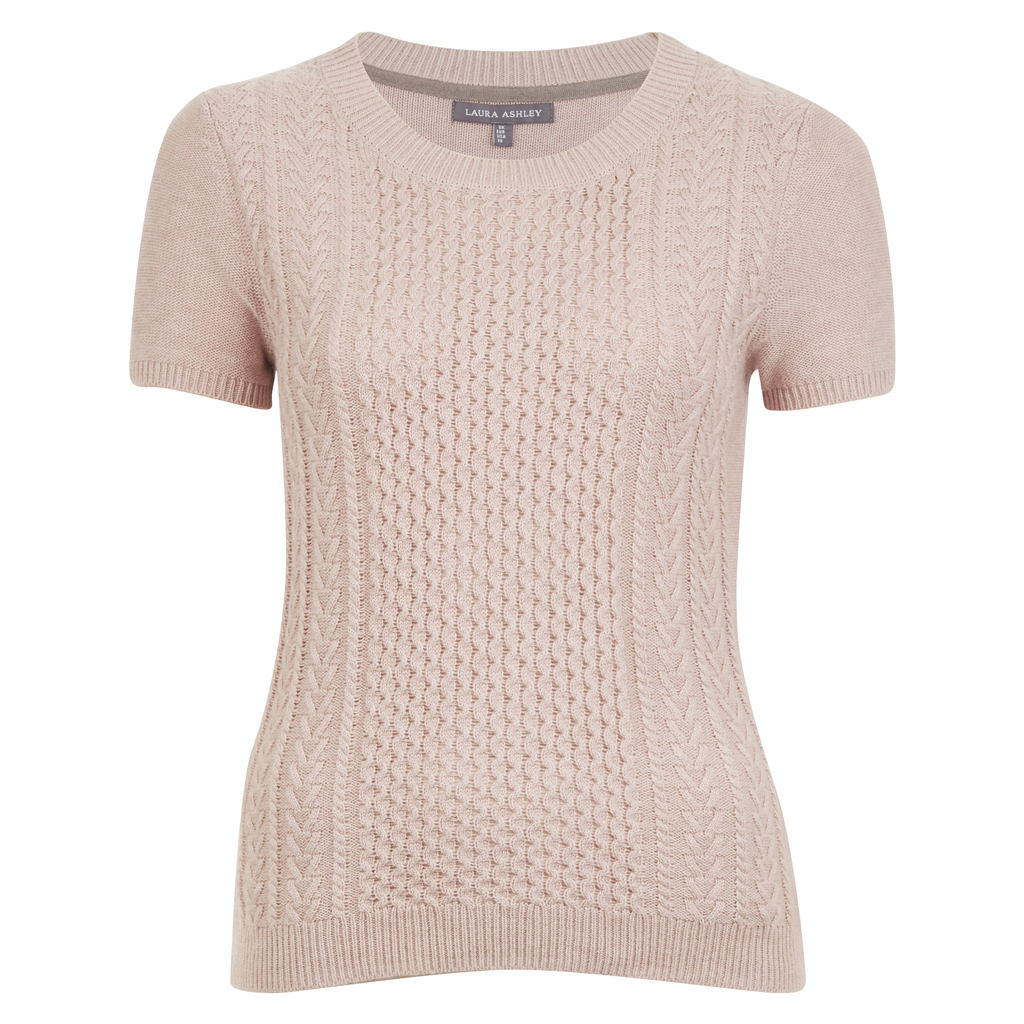 Cable Knit Short Sleeve Jumper - style: standard; pattern: cable knit; predominant colour: lilac; occasions: casual; length: standard; fibres: wool - mix; fit: slim fit; neckline: crew; sleeve length: short sleeve; sleeve style: standard; texture group: knits/crochet; pattern type: knitted - fine stitch; season: a/w 2016; wardrobe: highlight