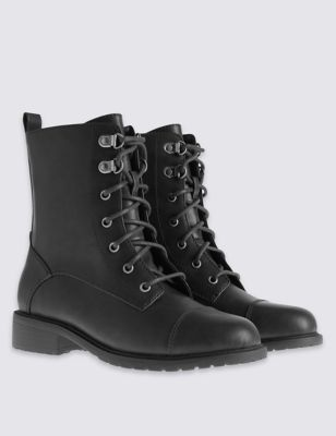 Wide Fit Block Heel Work Ankle Boots - predominant colour: black; occasions: casual; material: leather; heel height: flat; heel: standard; toe: round toe; boot length: ankle boot; style: military; finish: plain; pattern: plain; wardrobe: basic; season: a/w 2016