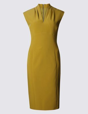 Stretch Sleeveless Bodycon Dress - style: shift; neckline: v-neck; sleeve style: capped; fit: tailored/fitted; pattern: plain; predominant colour: mustard; occasions: casual, occasion, creative work; length: on the knee; fibres: polyester/polyamide - stretch; sleeve length: sleeveless; pattern type: fabric; texture group: jersey - stretchy/drapey; season: a/w 2016; wardrobe: highlight