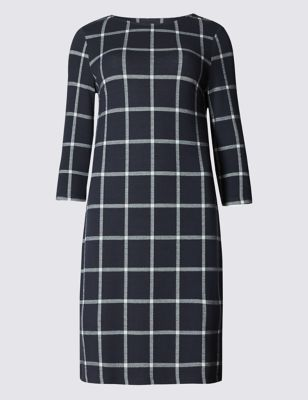 Checked Shift Dress - style: shift; length: mid thigh; pattern: checked/gingham; secondary colour: white; predominant colour: black; occasions: work; fit: body skimming; fibres: polyester/polyamide - 100%; neckline: crew; sleeve length: 3/4 length; sleeve style: standard; trends: monochrome; pattern type: fabric; pattern size: standard; texture group: woven light midweight; season: a/w 2016