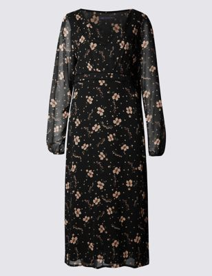 Romantic Floral Print Midi Dress - style: tea dress; length: calf length; neckline: v-neck; sleeve style: balloon; secondary colour: nude; predominant colour: black; occasions: casual; fit: soft a-line; fibres: polyester/polyamide - 100%; sleeve length: long sleeve; texture group: sheer fabrics/chiffon/organza etc.; pattern type: fabric; pattern size: standard; pattern: florals; season: a/w 2016; wardrobe: highlight; trends: romantic explorer