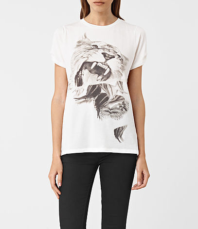 Flutter Mazzy Tee - style: t-shirt; predominant colour: white; secondary colour: mid grey; occasions: casual; length: standard; fibres: cotton - 100%; fit: body skimming; neckline: crew; sleeve length: short sleeve; sleeve style: standard; pattern type: fabric; pattern: patterned/print; texture group: jersey - stretchy/drapey; multicoloured: multicoloured; season: a/w 2016; wardrobe: highlight