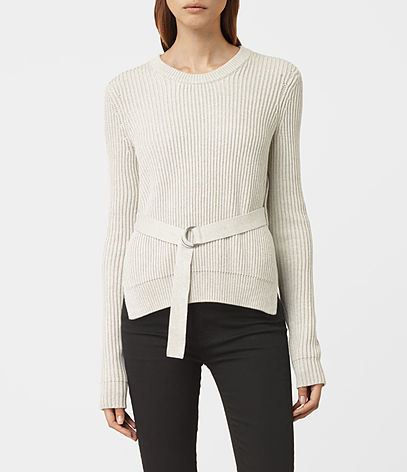 East Jumper - pattern: plain; style: standard; predominant colour: ivory/cream; occasions: casual; length: standard; fibres: cotton - 100%; fit: standard fit; neckline: crew; sleeve length: long sleeve; sleeve style: standard; texture group: knits/crochet; pattern type: fabric; season: a/w 2016