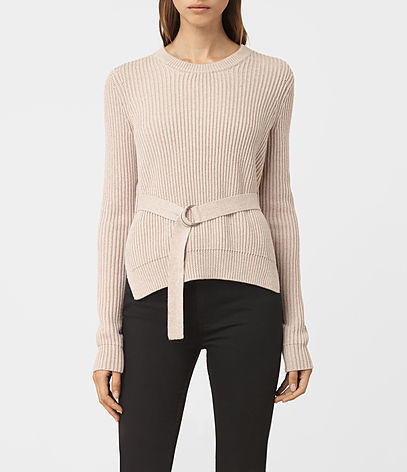 East Jumper - pattern: plain; style: standard; predominant colour: stone; occasions: casual; length: standard; fibres: cotton - 100%; fit: slim fit; neckline: crew; sleeve length: long sleeve; sleeve style: standard; texture group: knits/crochet; pattern type: knitted - fine stitch; season: a/w 2016