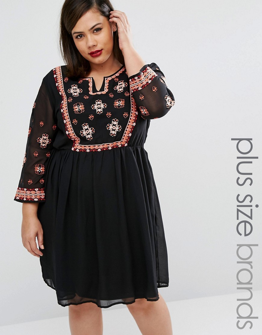 Folk Embroidered Skater Dress Black - style: tunic; length: mid thigh; neckline: v-neck; bust detail: added detail/embellishment at bust; secondary colour: true red; predominant colour: black; occasions: casual; fit: fitted at waist & bust; fibres: polyester/polyamide - 100%; sleeve length: 3/4 length; sleeve style: standard; texture group: sheer fabrics/chiffon/organza etc.; pattern type: fabric; pattern size: standard; pattern: patterned/print; embellishment: embroidered; season: a/w 2016; wardrobe: highlight
