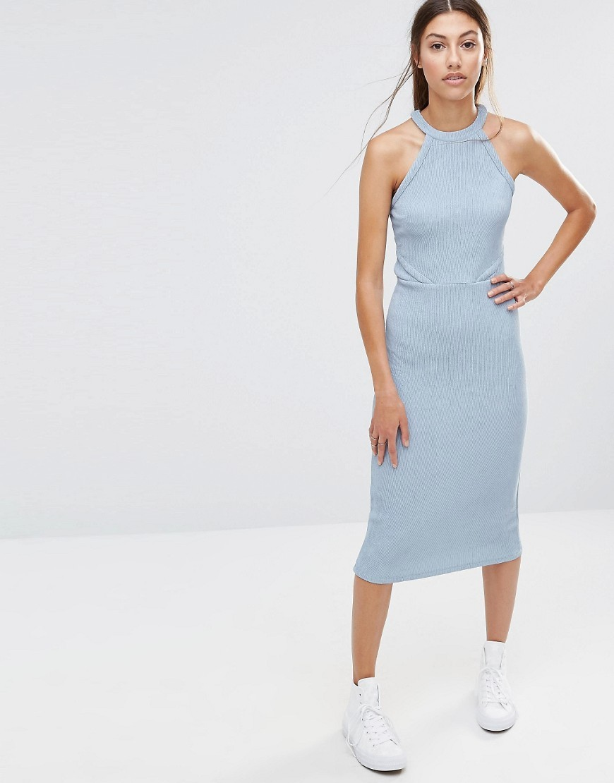 Halter Bodycon Dress Blue - length: below the knee; fit: tight; pattern: plain; sleeve style: sleeveless; neckline: high neck; style: bodycon; predominant colour: pale blue; occasions: evening, occasion; fibres: cotton - mix; sleeve length: sleeveless; pattern type: fabric; texture group: jersey - stretchy/drapey; season: a/w 2016; wardrobe: event