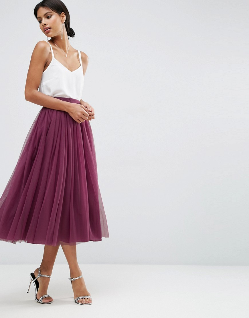 Tulle Prom Skirt With Multi Layers Plum - length: below the knee; pattern: plain; fit: loose/voluminous; style: pleated; waist: high rise; predominant colour: purple; occasions: evening, occasion; fibres: polyester/polyamide - 100%; pattern type: fabric; texture group: net/tulle; season: a/w 2016; wardrobe: event