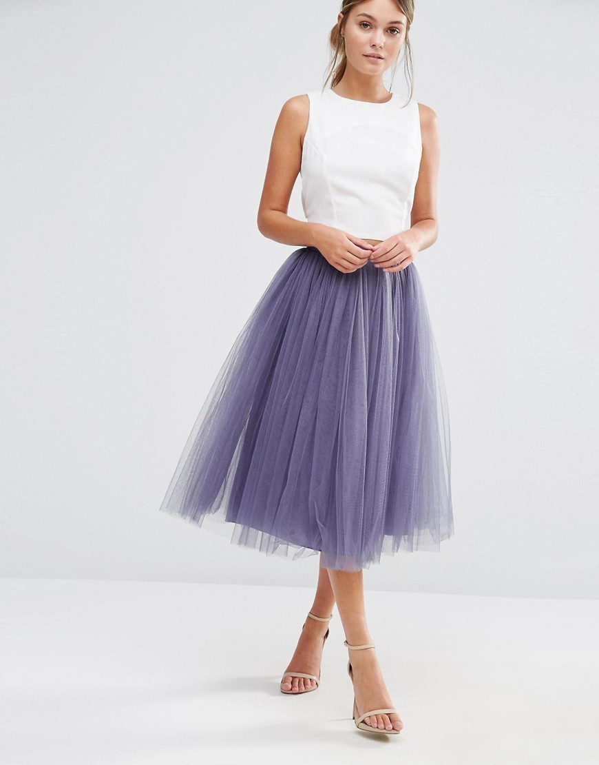 Tulle Midi Skirt Grey - length: below the knee; pattern: plain; style: full/prom skirt; fit: loose/voluminous; waist: high rise; predominant colour: lilac; occasions: evening, occasion; fibres: nylon - 100%; pattern type: fabric; texture group: net/tulle; season: a/w 2016; wardrobe: event