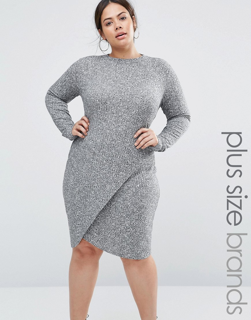 Plus Rib Dress With Asymmetric Skirt And Keyhole Back Grey - style: shift; pattern: plain; predominant colour: mid grey; occasions: casual, evening; length: on the knee; fit: body skimming; fibres: viscose/rayon - stretch; neckline: crew; sleeve length: long sleeve; sleeve style: standard; pattern type: fabric; texture group: jersey - stretchy/drapey; wardrobe: basic; season: a/w 2016