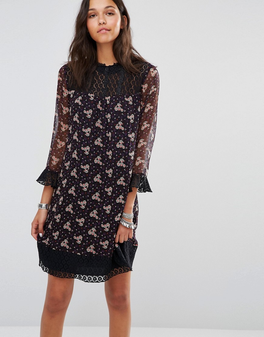Wildflower Print Dress Plum Multi - style: shift; sleeve style: bell sleeve; secondary colour: white; predominant colour: black; occasions: evening; length: just above the knee; fit: body skimming; fibres: silk - 100%; neckline: crew; sleeve length: 3/4 length; pattern type: fabric; pattern: patterned/print; texture group: other - light to midweight; multicoloured: multicoloured; season: a/w 2016; wardrobe: event