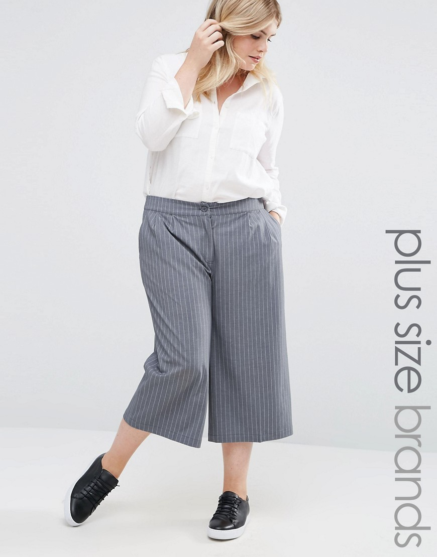 Striped Culottes Grey - pattern: pinstripe; waist: mid/regular rise; predominant colour: mid grey; occasions: casual, creative work; length: calf length; fibres: polyester/polyamide - 100%; fit: wide leg; pattern type: fabric; texture group: woven light midweight; style: standard; season: a/w 2016; wardrobe: highlight