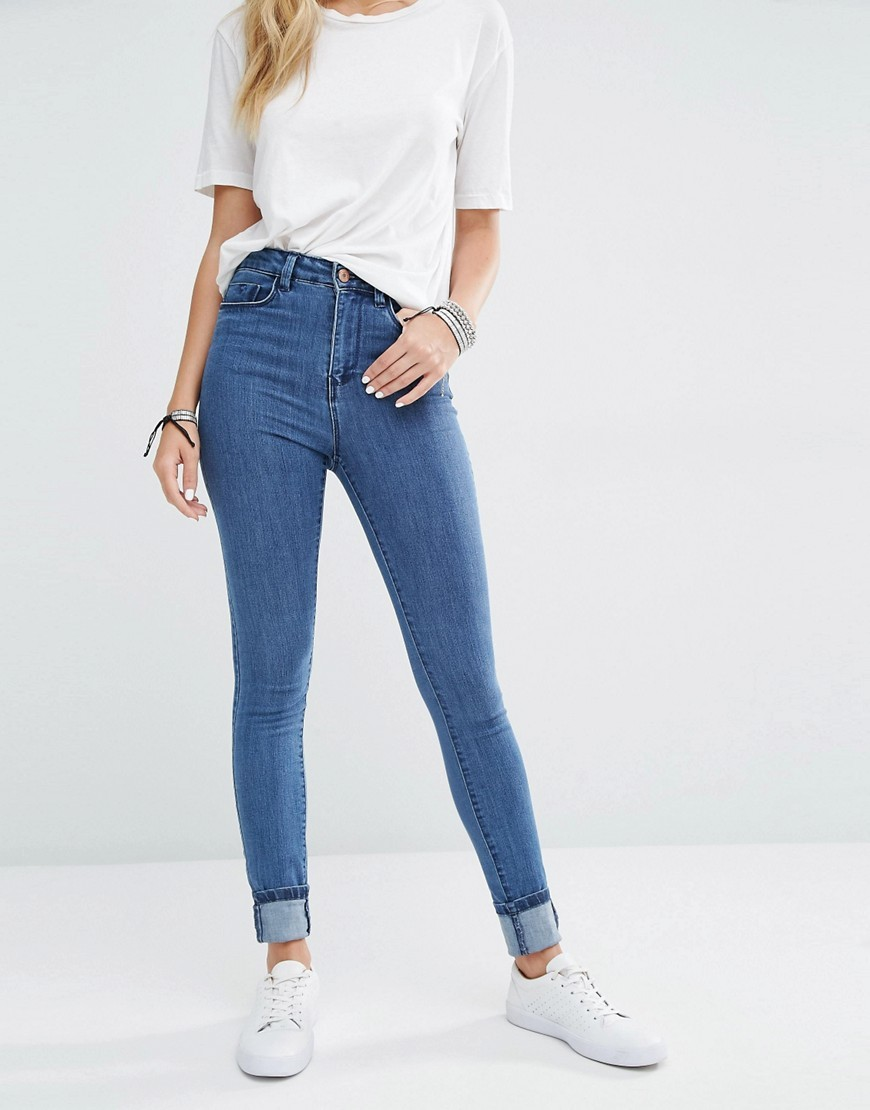Lexi High Rise Skinny Jeans Mid Wash - style: skinny leg; length: standard; pattern: plain; waist: high rise; pocket detail: traditional 5 pocket; predominant colour: denim; occasions: casual; fibres: cotton - stretch; texture group: denim; pattern type: fabric; wardrobe: basic; season: a/w 2016