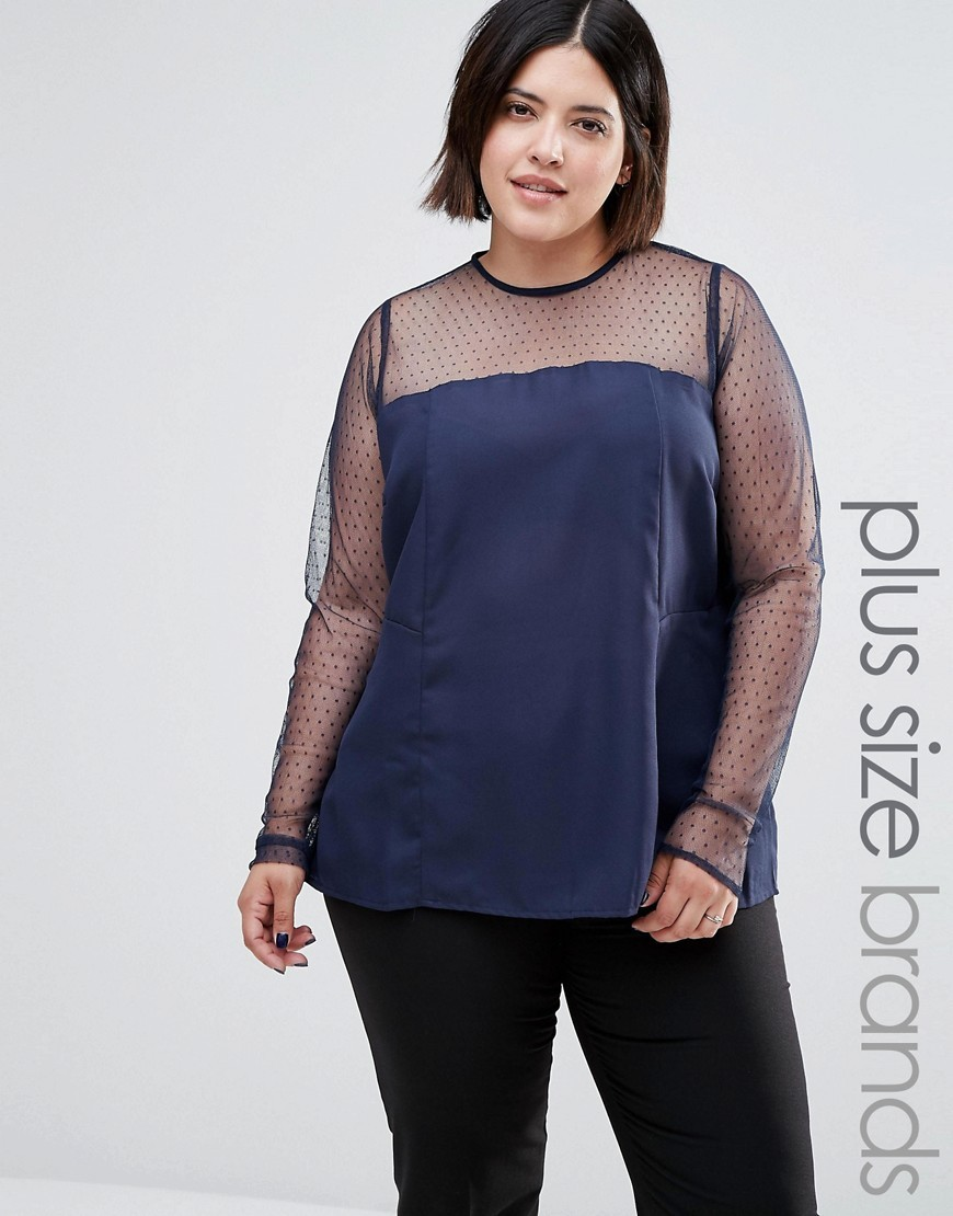 Plus Top With Sheer Sleeves Blue - pattern: plain; style: blouse; predominant colour: navy; occasions: evening, creative work; length: standard; fibres: polyester/polyamide - 100%; fit: loose; neckline: crew; sleeve length: long sleeve; sleeve style: standard; texture group: silky - light; pattern type: fabric; shoulder detail: sheer at shoulder; season: a/w 2016