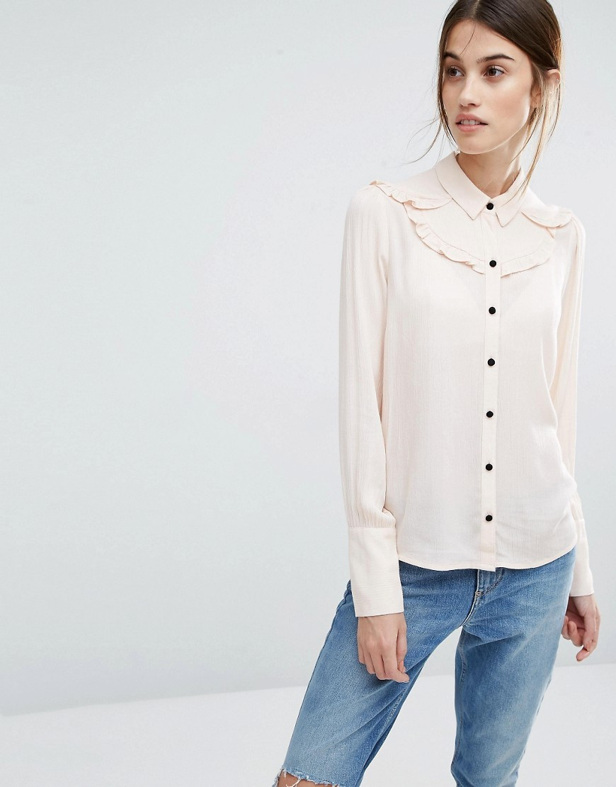 Ruffle Detail Shirt Cream Tan - neckline: shirt collar/peter pan/zip with opening; pattern: plain; style: shirt; bust detail: subtle bust detail; predominant colour: ivory/cream; occasions: casual, creative work; length: standard; fibres: polyester/polyamide - 100%; fit: straight cut; sleeve length: long sleeve; sleeve style: standard; texture group: crepes; pattern type: fabric; wardrobe: basic; season: a/w 2016