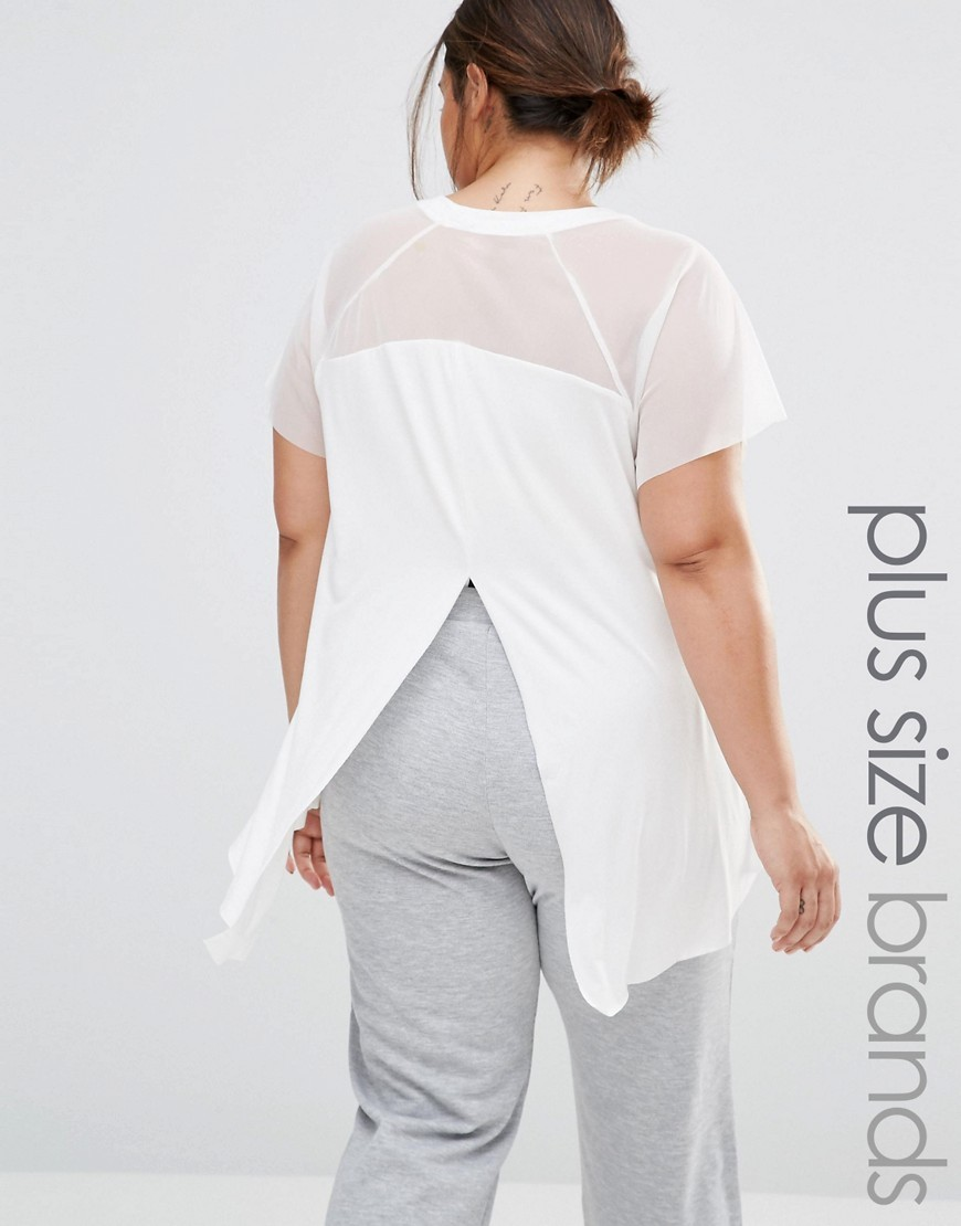 Mesh Insert Split Back Jersey Top White - sleeve style: capped; pattern: plain; length: below the bottom; style: t-shirt; back detail: back revealing; predominant colour: ivory/cream; occasions: casual; fibres: viscose/rayon - stretch; fit: body skimming; neckline: crew; sleeve length: short sleeve; pattern type: fabric; texture group: jersey - stretchy/drapey; shoulder detail: sheer at shoulder; season: a/w 2016; wardrobe: highlight
